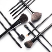 12-piece Set Makeup Brushes with Pouch Bag, Black