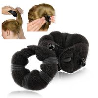 2-piece Set Hair Styling Donut Bun Maker, Black