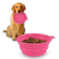 Collapsible Pet Feeding Bowl, Pink