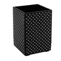 Soft Touch Pen Holder, Black with White Dots