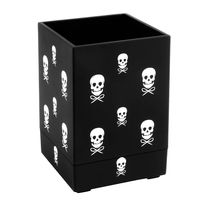 Soft Touch Pen Holder, Black with White Skull