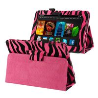 Leather Case with Stand  compatible with Amazon Kindle Fire HD 7-inch (2012 Version), Zebra/ Pink