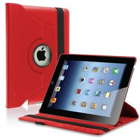 360-degree Swivel Leather Case  compatible with Apple® iPad® 4 / iPad® with Retina display, Red