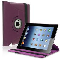 360-degree Swivel Leather Case  compatible with Apple® iPad® 3 / New iPad®, Purple