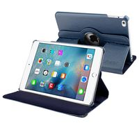 360-degree Swivel Leather Case compatible with Apple iPad Mini 4, Navy Blue