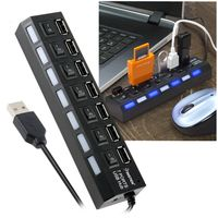 7-Port USB Hub with ON / OFF Switch, Black