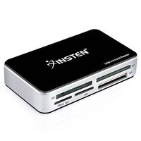 INSTEN USB 3.0 All-In-1 Memory Card Reader, Black/Silver