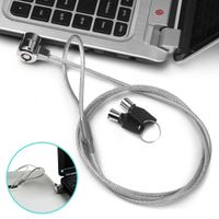 Notebook / Laptop Universal Security Cable Chain Lock w/ Two Keys, 3 FT / 1 M, Silver
