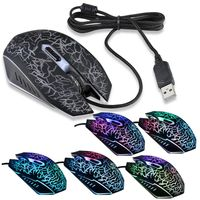 USB Optical Adjustable 6D Button Wired Game Mouse, Black