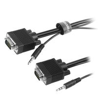 Premium VGA Monitor Extended Cable w/ 3.5 mm Audio 15 pin M/M, 10 FT / 3 M, Black