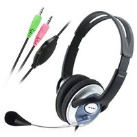 VOIP/SKYPE Handsfree Stereo Headset w/ Microphone compatible with Sony VAIO PCG-FX220, Black/ Silver