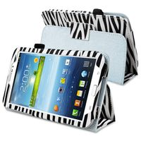 Stand Leather Case compatible with Samsung© Galaxy Tab 3 7.0 P3200/ Kids, White/ Black Zebra