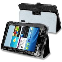 """Leather Case with Stand  compatible with Samsung© Galaxy Tab 2 7"""" 3G, Crocodile Skin Pattern/ Black"""