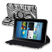 """360-degree Swivel Leather Case  compatible with Samsung© Galaxy Tab 2 7"""" 3G, Zebra/ White"""