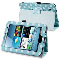 """Leather Case with Stand  compatible with Samsung© Galaxy Tab 2 7"""" 3G, Polka Dot/ Blue/ White"""