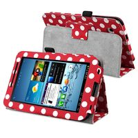 """Leather Case with Stand  compatible with Samsung© Galaxy Tab 2 7"""" 3G, Polka Dot/ Red/ White"""