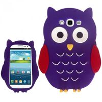 OWL 3D Silicon Skin Case compatible with Samsung Galaxy S3 III i9300, Purple SCOWL