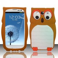 3D Owl Silicon Case compatible with Samsung Galaxy S3 III i9300, Brown SCOWL3D