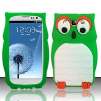3D Owl Silicon Case compatible with Samsung Galaxy S3 III i9300, Neon Green SCOWL3D