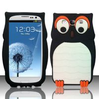 3D Owl Silicon Case compatible with Samsung Galaxy S3 III i9300, Black SCOWL3D