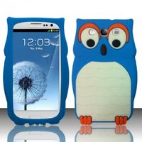 3D Owl Silicon Case compatible with Samsung Galaxy S3 III i9300, Baby Blue SCOWL3D
