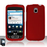 Rubberized Snap-on Protector Case compatible with LG Optimus T P509/Thrive/Phoenix P505, Red