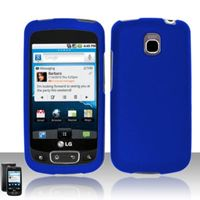 Rubberized Snap-on Protector Case compatible with LG Optimus T P509/Thrive/Phoenix P505, Blue
