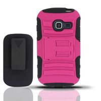Heavy Duty Armor Style 2 Case w/ Holster compatible with Samsung S738G/S730g/S740C, Black/Hot Pink AM2H