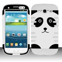 Silicon Case + Rubberized Design Cover compatible with Samsung Galaxy S3 III i9300, Panda Bear SCDP
