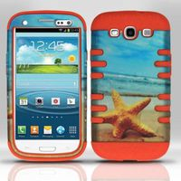 Silicon Case + Rubberized Design Cover compatible with Samsung Galaxy S3 III i9300, Star Fish SCDP