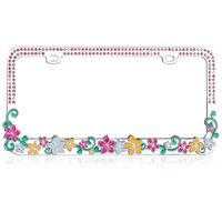 Vibrant Hawaiian Flowers with Pink Crystals Design Metal Frame with Crystals