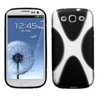 MYBAT Gummy Case compatible with Samsung Galaxy S III, Transparent Clear/Solid Black X Shape