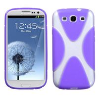 MYBAT Gummy Case compatible with Samsung Galaxy S III, Transparent Clear/Solid Purple X Shape