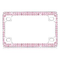 MYBAT Double Row Chrome Metal Motorcycle Frame with Pink Crystals