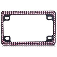 MYBAT Double Row Black Metal Motorcycle Frame with Pink Crystals