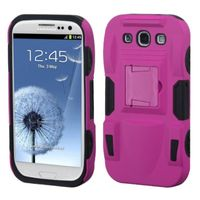 ASMYNA Hot Pink/Black Advanced Armor Stand Protector Cover (Rubberized) compatible with Samsung Galaxy S III