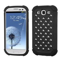 MYBAT Rubberized Black/Black Silver Studs Protector Cover compatible with Samsung Galaxy S III