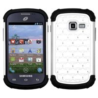 ASMYNA White/Black Luxurious Lattice Dazzling TotalDefense Protector Cover compatible with Samsung S738C /Galaxy Centura, R740C /Galaxy Discover