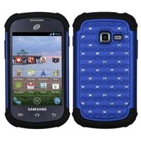 ASMYNA Dark Blue/Black Luxurious Lattice Dazzling TotalDefense Protector Cover compatible with Samsung S738C /Galaxy Centura, R740C /Galaxy Discover