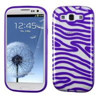 MYBAT Transparent Clear/Solid Purple(Zebra Skin) Gummy Cover compatible with Samsung Galaxy S III