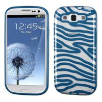 MYBAT Transparent Clear/Dark Blue(Zebra Skin) Gummy Cover compatible with Samsung Galaxy S III