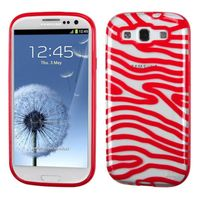 MYBAT Transparent Clear/Solid Red(Zebra Skin) Gummy Cover compatible with Samsung Galaxy S III