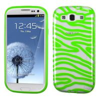 MYBAT Transparent Clear/Solid Green(Zebra Skin) Gummy Cover compatible with Samsung Galaxy S III