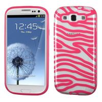 MYBAT Transparent Clear/Solid Pink(Zebra Skin) Gummy Cover compatible with Samsung Galaxy S III
