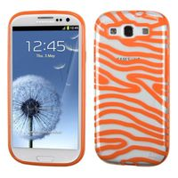 MYBAT Transparent Clear/Solid Orange(Zebra Skin) Gummy Case compatible with Samsung Galaxy S III
