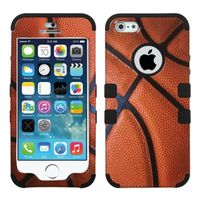 MYBAT Basketball-Sports Collection/Black TUFF Hybrid Phone Protector Cover compatible with Apple iPhone 5/5s