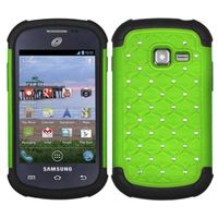 ASMYNA Pearl Green/Black Luxurious Lattice Dazzling TotalDefense Protector Cover Compatible With Samsung S738C / R740C