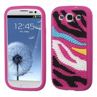 MYBAT Colorful Zebra Skin Spike/Hot Pink Pastel Skin Case compatible with Samsung Galaxy S III