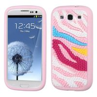MYBAT Colorful Zebra Skin Spike/Pink Pastel Skin Case compatible with Samsung Galaxy S III