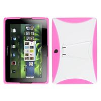 MYBAT Gummy Cover With Stand Compatible With RIM BLACKBERRY Playbook , Solid White/Solid Hot Pink